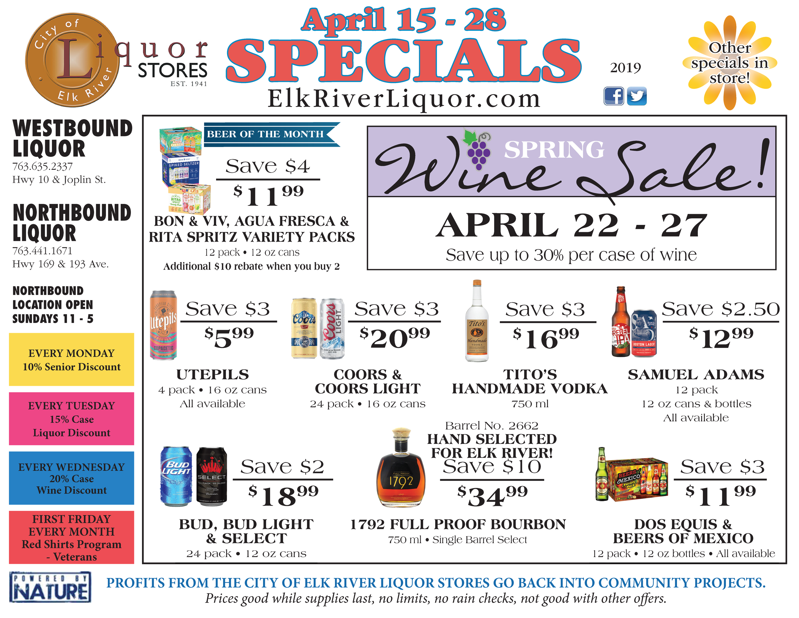 List of specials for Westbound and Northbound Liquor