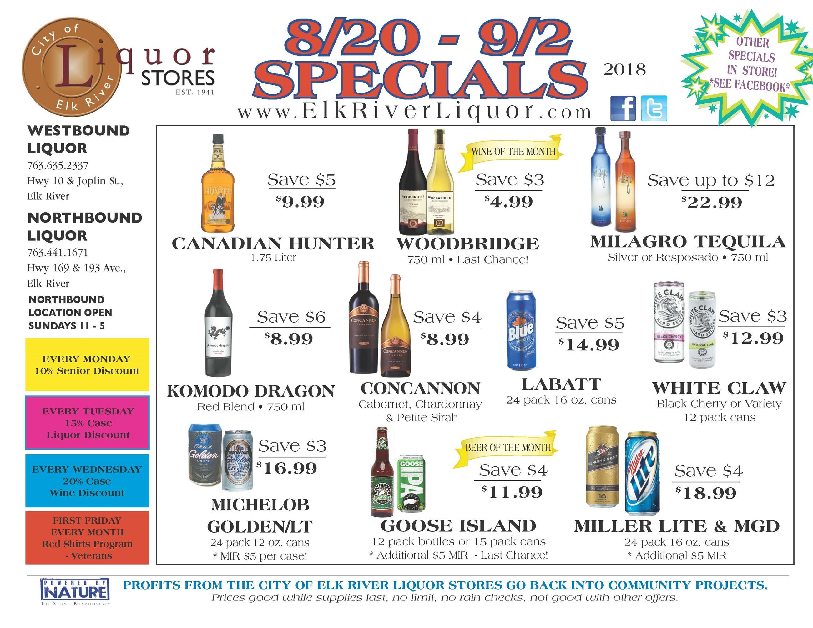 Northbound Liquor Specials for August - September